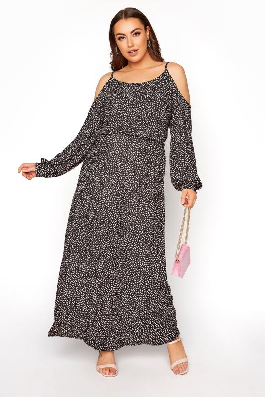 Plus Size  Black Cold Shoulder Ditsy Maxi Dress