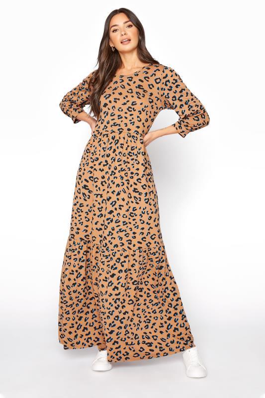 LTS Beige Leopard Print Smock Midaxi Dress
