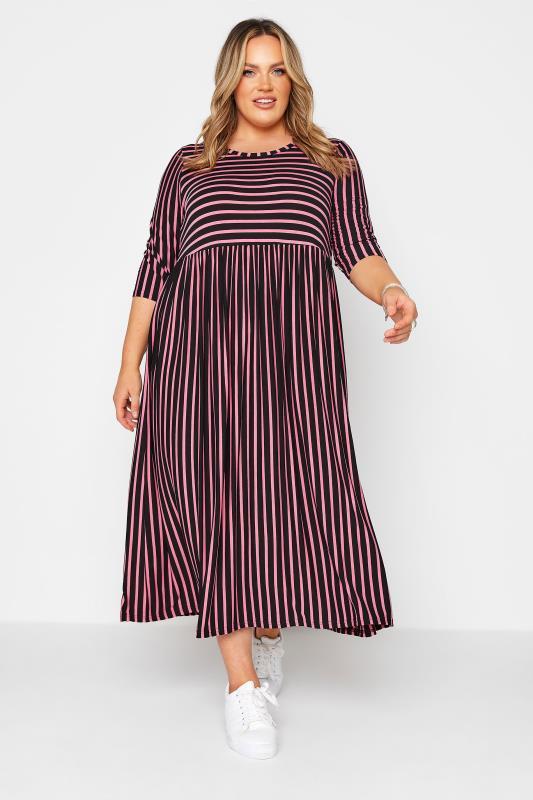 LIMITED COLLECTION Black & Pink Stripe Midaxi Dress_B.jpg