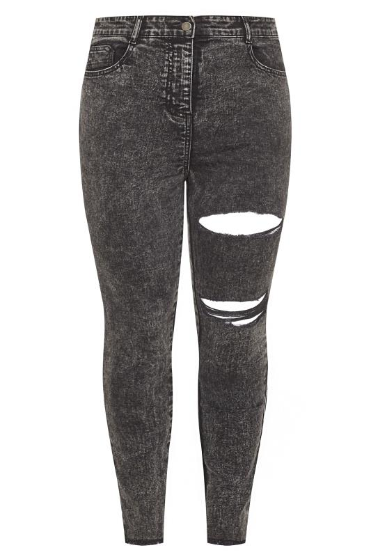 Black Acid Wash Double Ripped Skinny AVA Jeans