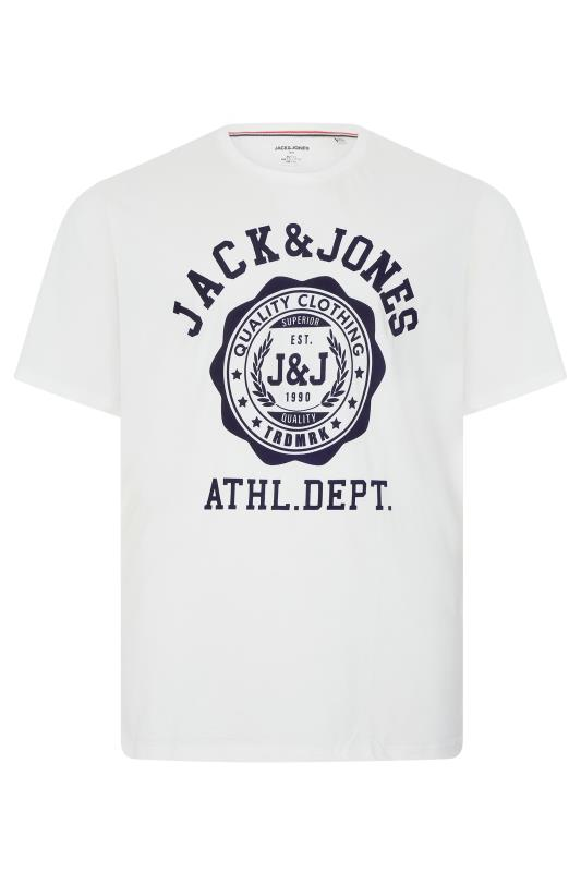 JACK & JONES White Flock T-Shirt