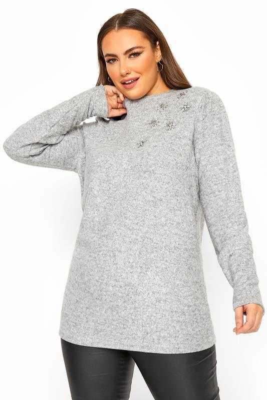 Plus Size  Grey Diamante Floral Soft Knitted Jumper