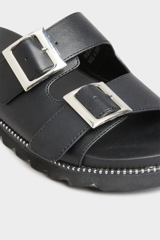 LIMITED COLLECTION Black Stud Buckle Sandal In Extra Wide Fit_D.jpg