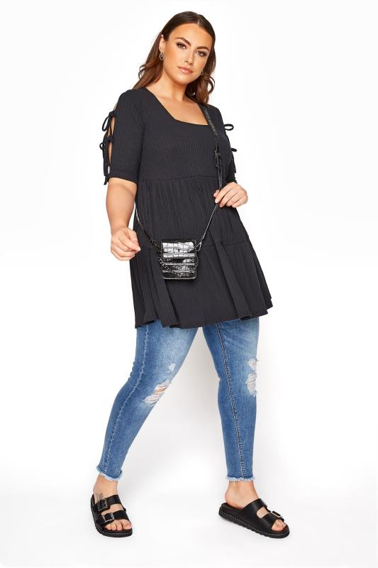 LIMITED COLLECTION Black Ribbed Milkmaid Tiered Tunic Dress