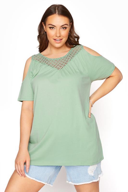 Plus Size  Khaki Lace Cold Shoulder Top