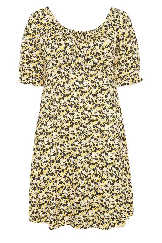 YOURS LONDON Yellow Ditsy Milkmaid Dress_F.jpg