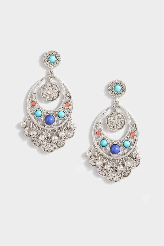 Silver Mixed Stone Earrings
