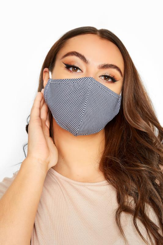 Grande Taille Navy Gingham Antibacterial Face Mask