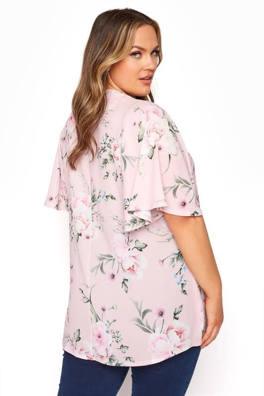 YOURS LONDON Pink Floral Angel Sleeve Blouse_C.jpg
