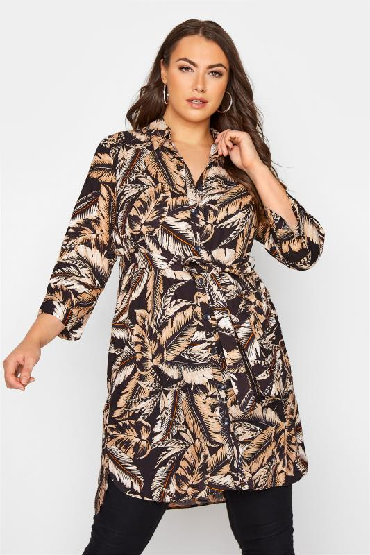Black Leaf Print Shirt Dress_A.jpg