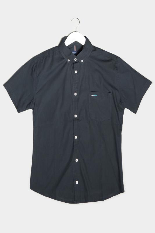 BadRhino Navy Essential Short Sleeve Oxford Shirt_F.jpg