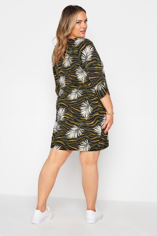 Khaki Tropical V-Neck Shift Dress_C.jpg