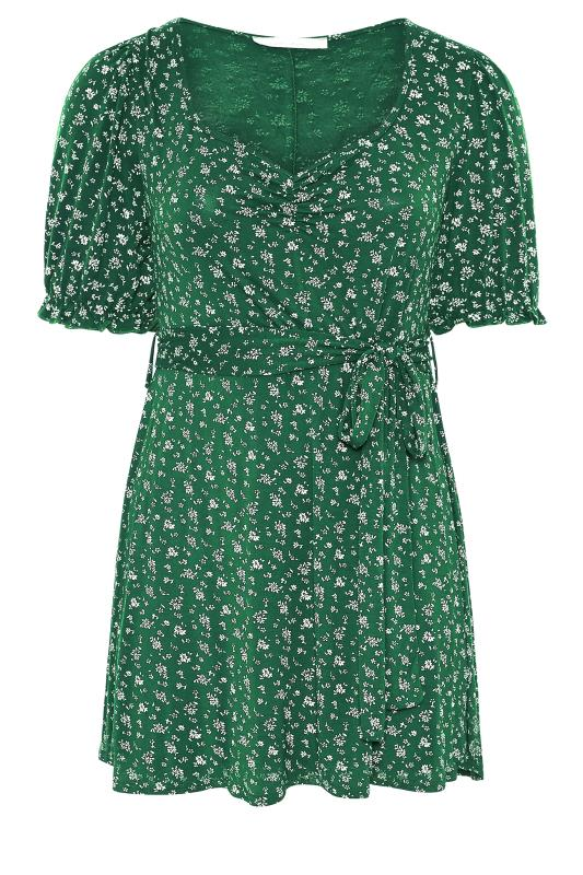 YOURS LONDON Green Ditsy Sweetheart Top_F.jpg