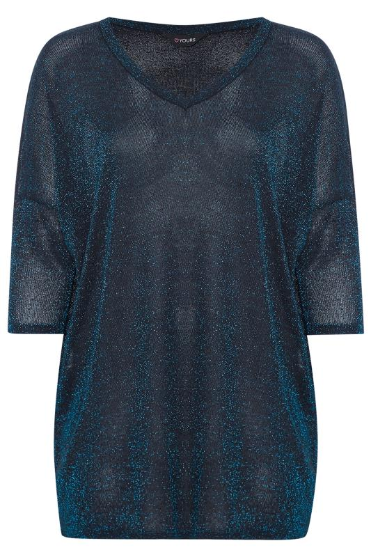 Top met v-hals en lange achterkant in metallic kobaltblauw