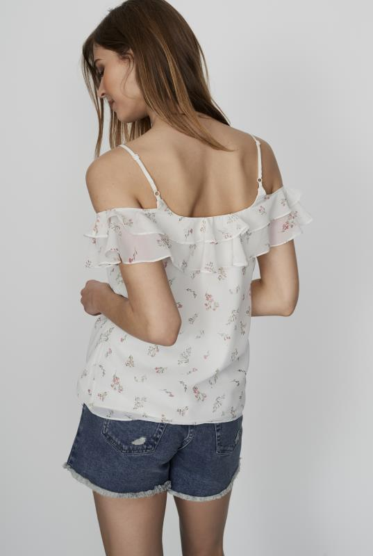 CURATD. x LTS Ditsy Georgette Ruffle Top