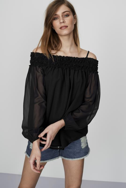 CURATD. x LTS Shirred Off the Shoulder Top
