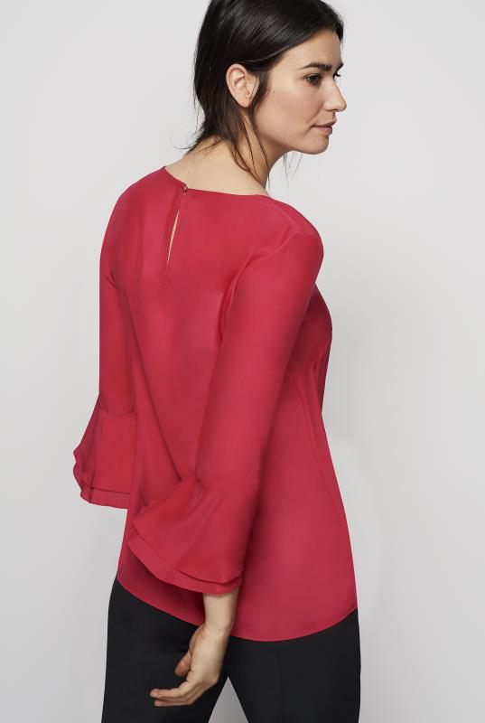 Double Flute Sleeve Silk Top