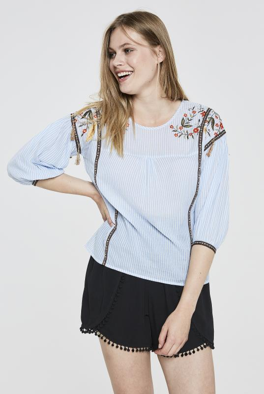 Tall Shirts & Blouses Y.A.S Tall Brody Embroidered Stripe Top