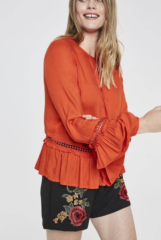 Tall Shirts & Blouses Y.A.S Orange Tall Festive Embroidered Tassel Top