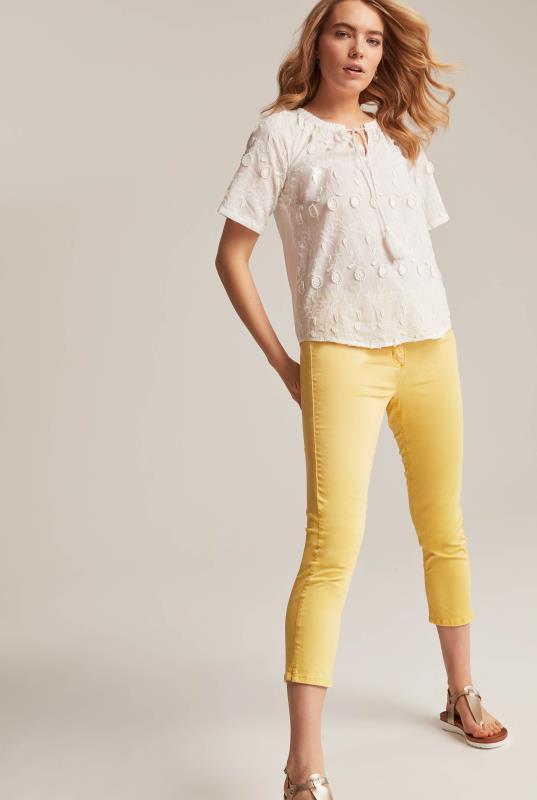 White Cotton Applique Floral Top