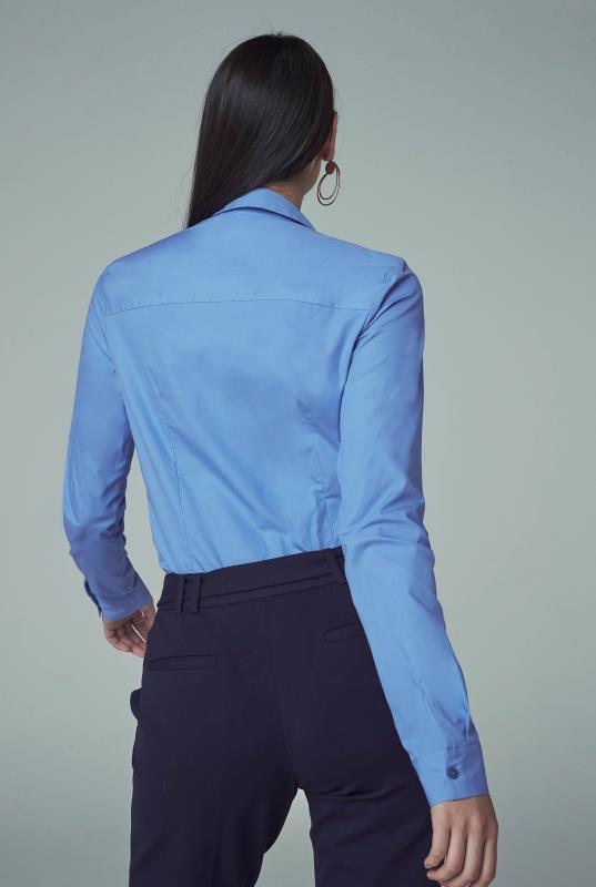 Blue Cotton Stretch Work Shirt