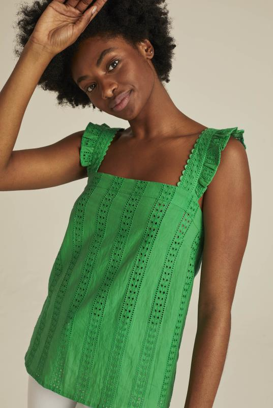 Green Cotton Broderie Cami