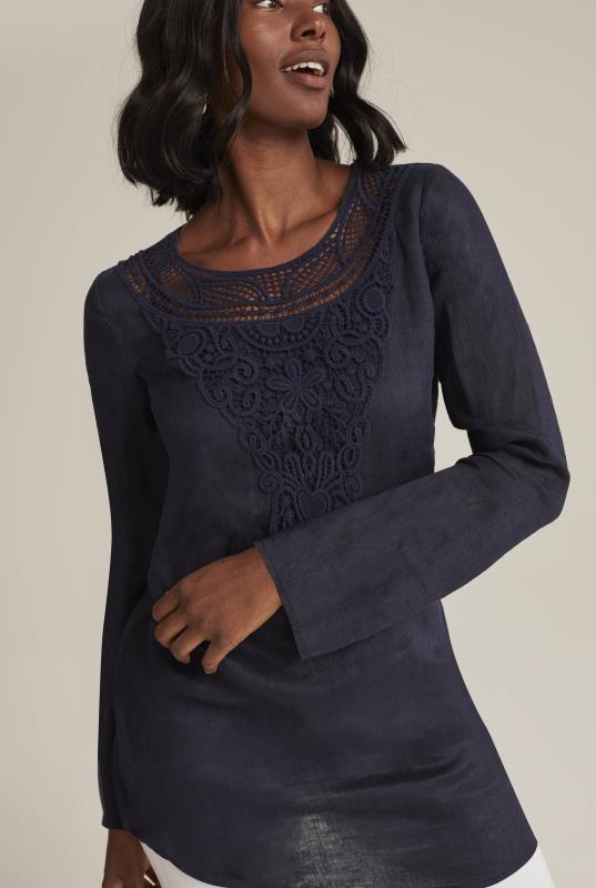 Pure Linen Lace Trim Tunic