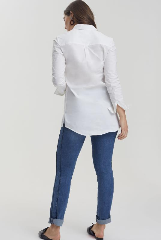 White Longline Cotton Shirt With Contrast Placket