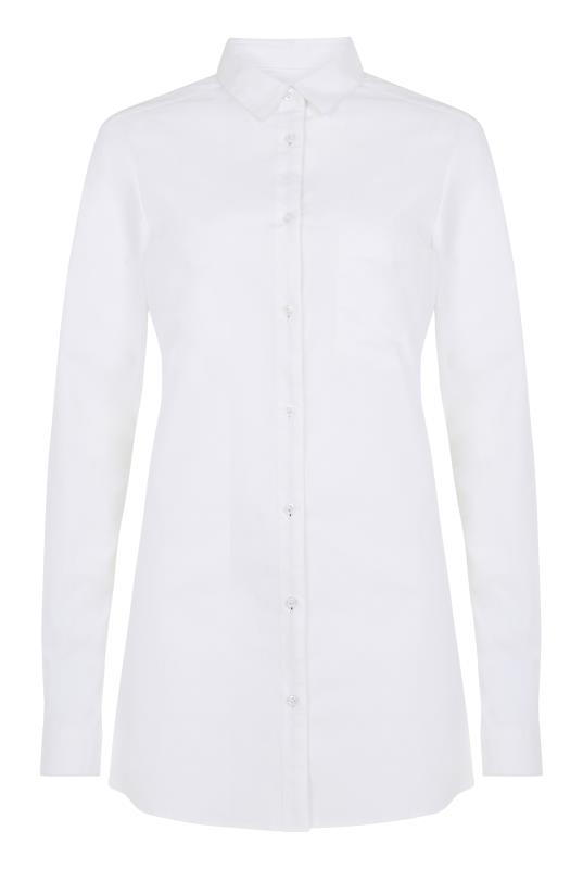 Longline Cotton Shirt With Contrast Placket