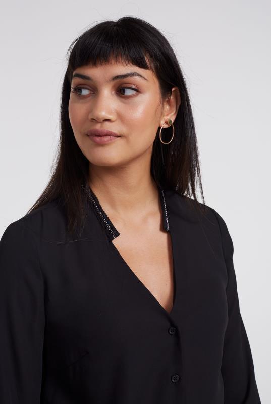 Black Chain Trim Detail Longline Shirt