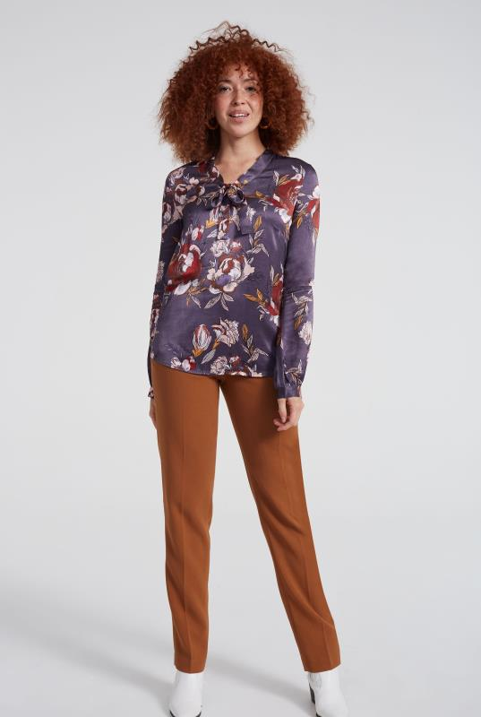 Purple Tie Neck Floral Print Blouse