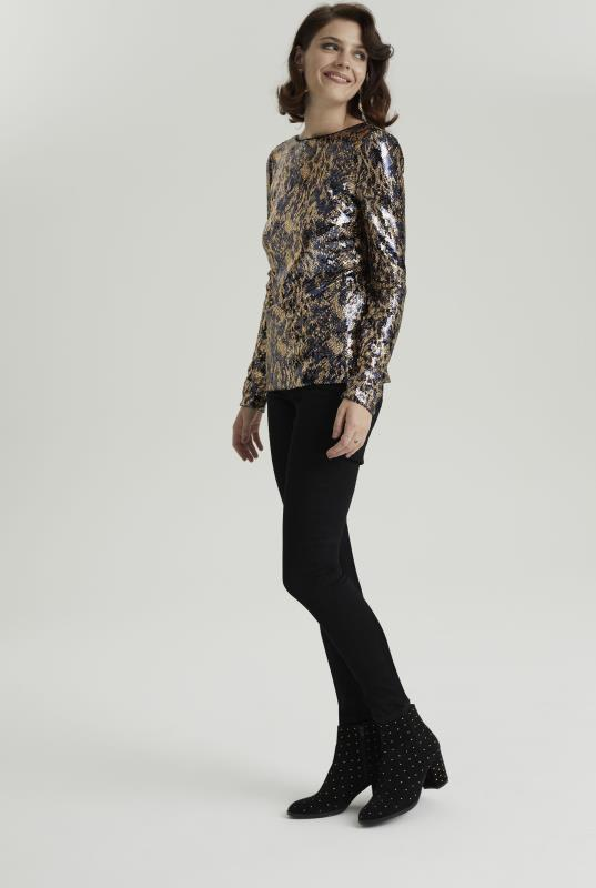 Navy & Gold Sequin Long Sleeve Top