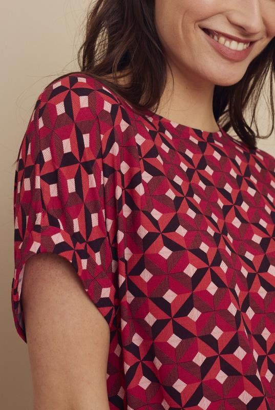 Red Button Back Woven Tee