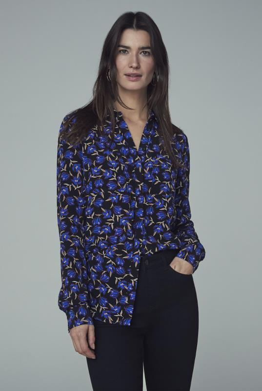 Blue Floral Print Double Pocket Shirt