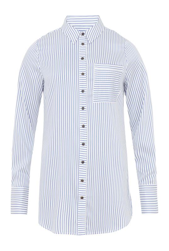 Long Tall Sally Tall Womens Longline Stripe Shirt in Blue//White