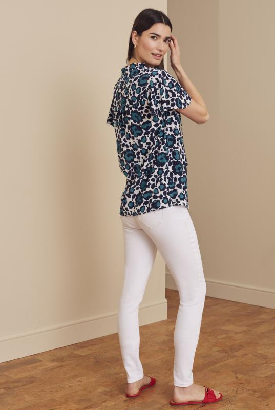 White and Blue Floral Tie Front Detail Top