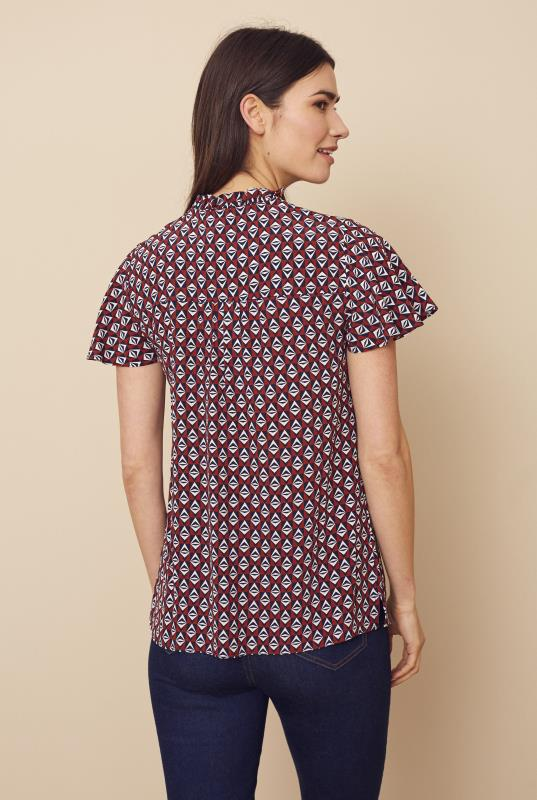 Red Geometric Tie Front Detail Top