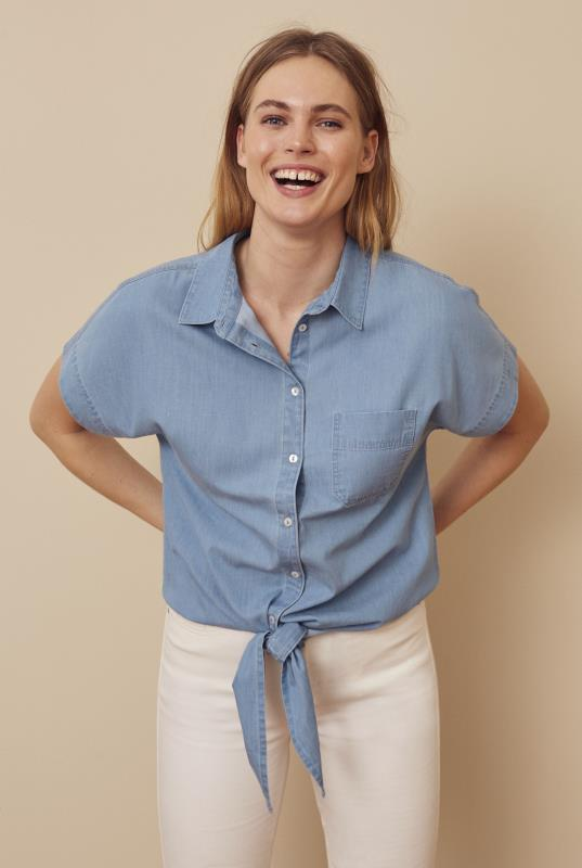 Blue Tie Front Chambray Shirt