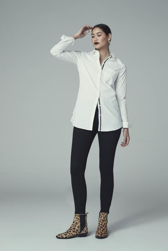 White Longline Shirt With Contrast Placket