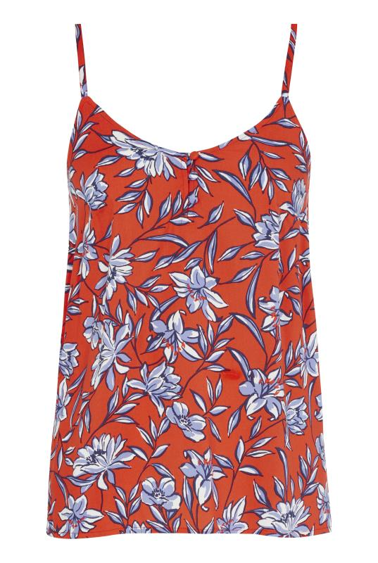 Orange Printed Button Front Cami