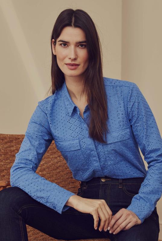 Blue Long Sleeve Cotton Broderie Shirt
