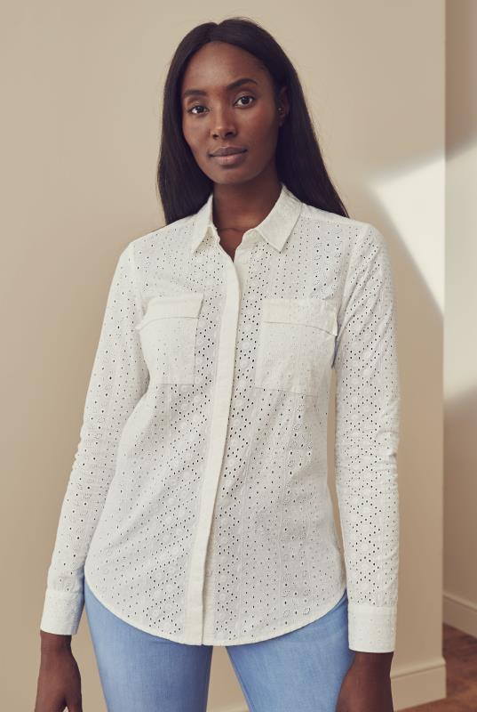 White Long Sleeve Cotton Broderie Shirt