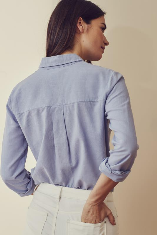 Blue Longline Utility Look Linen Shirt