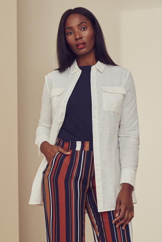 White Linen Longline Utility Look Shirt