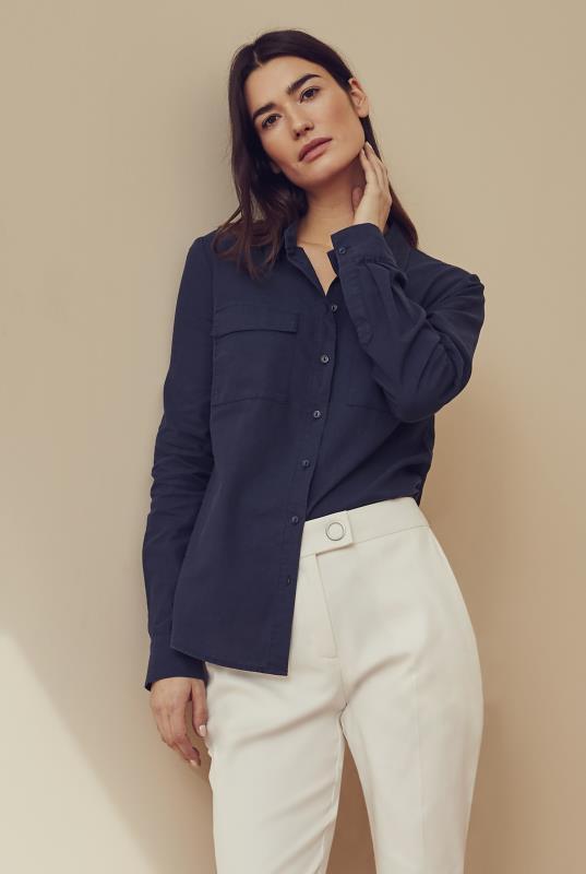 Navy Double Pocket Linen Shirt