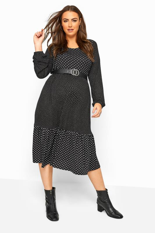 BUMP IT UP MATERNITY Black Polka Dot Tiered Midi Dress