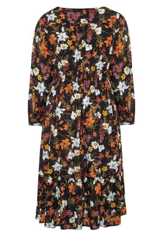 Black Floral Turn Back Sleeve Midi Dress_bk.jpg