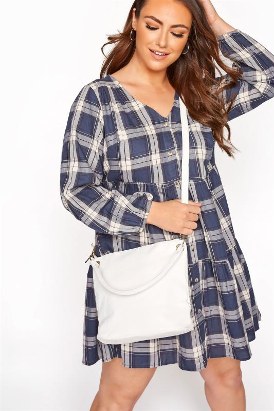 White Dual Strap Zip Detail Shoulder Bag