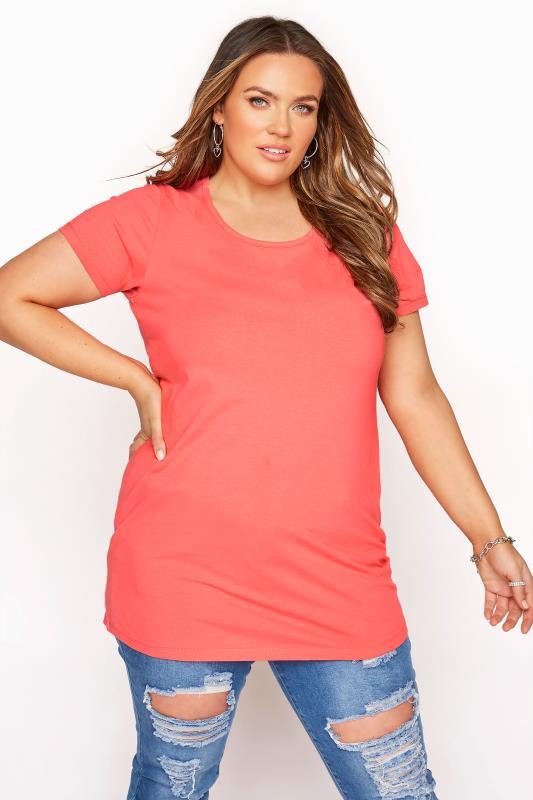 Plus Size  Coral Longline T-Shirt