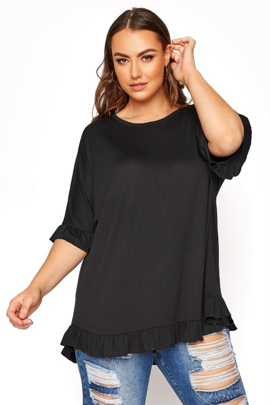 LIMITED COLLECTION Black Frill Jersey T-Shirt_A.jpg